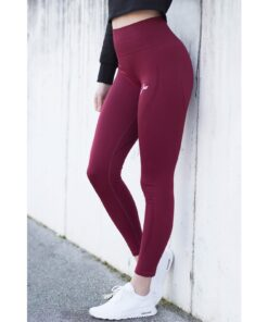 Vortex Legging Bordeaux - High Waist Sportlegging Vrouwen Bordeaux-4