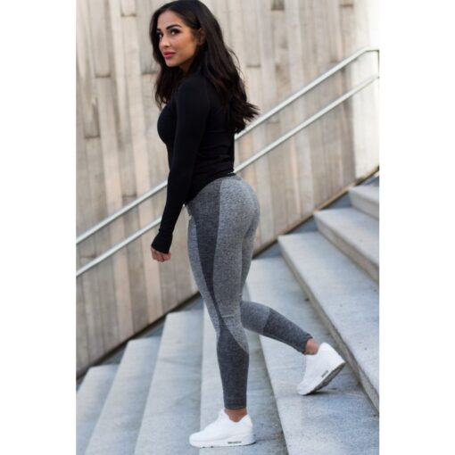 Wave Legging Dark Grey - High Waist Sportlegging Dames Donkergrijs-1