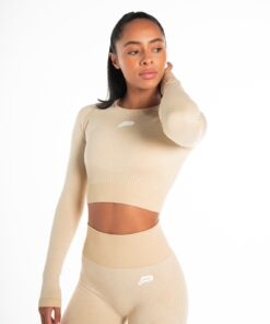 Sporttop Crop Longsleeve Beige Seamless - Pursue Fitness Adapt-4